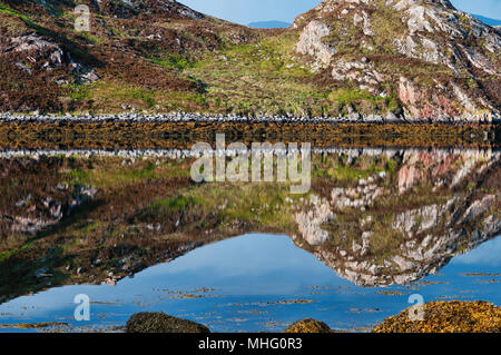 Reflections on still water on a Scottish Loch - Stock Image