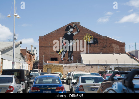 Mural or graffiti art of a pirate, on a wall in Fremantle, Western Australia. - Stock Image