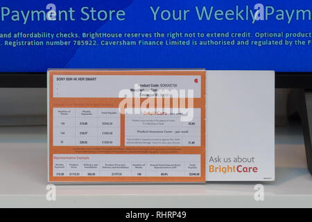 Brighthouse weekly payment retailer - weekly payment terms and representative example for a television showing apr of 69.9%, Scotland, UK - Stock Image