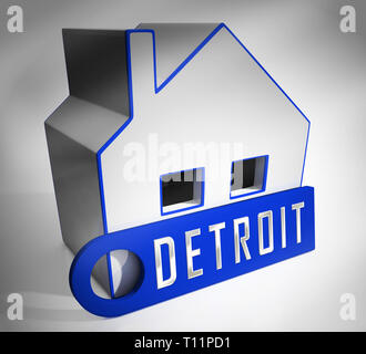 Detroit Property Icon Denotes Real Estate Selling Or Buying In Michigan. Housing Development And Realty Rental - 3d Illustration - Stock Image