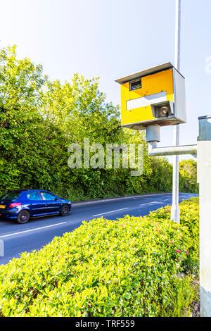 Gatso Speed Camera, Gatso camera, speed camera, speed deterrent, UK, Gatsometer BV, speed cameras, camera, cameras, Gatso, gatso, road, car, vehicle - Stock Image