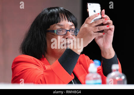 Diane Abbott addressing the Labour Party Women's Conference in Telford, UK - Stock Image