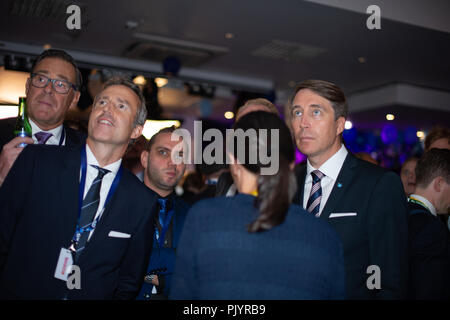 Stockholm, Sweden, September 9, 2018. Swedish General Election 2018.  Election Night Watch Party for Sweden Democrats (SD) in central Stockholm, Sweden. Richard Jomshof (SD), right. Credit: Barbro Bergfeldt/Alamy Live News - Stock Image