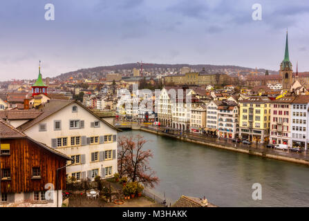 A winter day in old town of Zurich - Stock Image