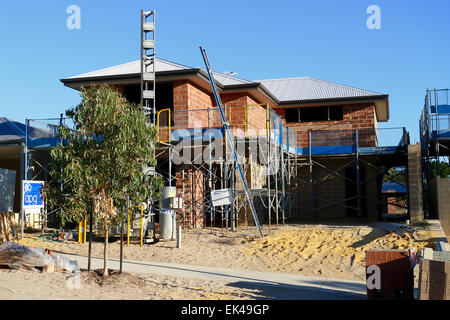 New two storey house being built in the suburbs of Perth, Western Australia. - Stock Image