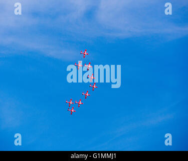 The Snowbirds, Canadian Forces 431 Squadron, air show flight demonstration team, flying over Summerland, BC, Canada - Stock Image