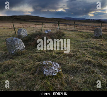 A well preserved part of Dere Street, Roman road passes by a small stone circle just north of Pennymuir Roman Camps just north of the Scottish Border - Stock Image