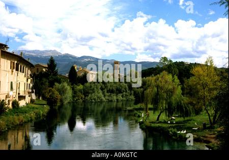 Old Roman bridge ,Rietti, Le Marche ,Italy - Stock Image