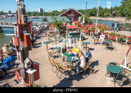 Café Regatta Helsinki a quirky little waterfront café restaurant with a lovely outside terrace in Helsinki Finland in summer. - Stock Image