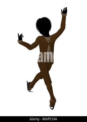 Victorian boy on ice skates silhouette on a white background - Stock Image