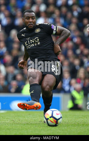 Wes Morgan of Leicester during the Premier League match between Brighton and Hove Albion and Leicester City at the American Express Community Stadium in Brighton and Hove. 31 Mar 2018 *** Editorial use only. No merchandising. For Football images FA and Premier League restrictions apply inc. no internet/mobile usage without FAPL license - for details contact Football Dataco *** - Stock Image