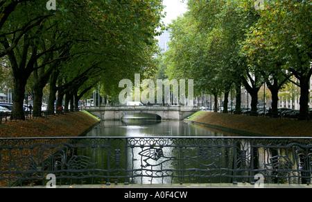 Dusseldorf Canal and Bridge at Konigsallee Germany - Stock Image