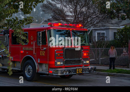 Burbank CA USA 23 February 2019 Burbank Fire Department at a house fire. Credit: Chester Brown/Alamy Live News - Stock Image