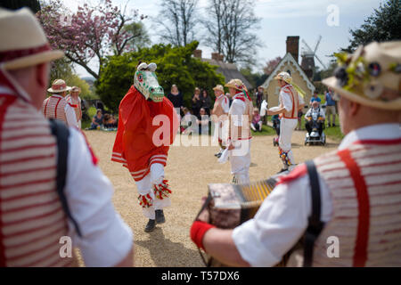 Thaxted Essex England, UK. 22nd Apr, 2019. Traditional Easter Bank Holiday Monday Morris Dancing in Thaxted Church Yard. Thaxted Morris in red and white and their Hobby Horse who collects moneys from spectators along with guest side Devils Dyke Morris side from Cambridgeshire entertain the crowd in the sopring sunshine. Credit: BRIAN HARRIS/Alamy Live News - Stock Image