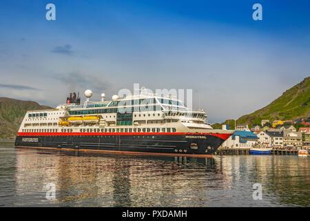 Hurtigruten Ferry Moored At Honningsvag, Norway - Stock Image
