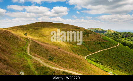 The Earthworks of British Camp Iron Age Fort in the Malvern Hills, Worcestershire, England - Stock Image