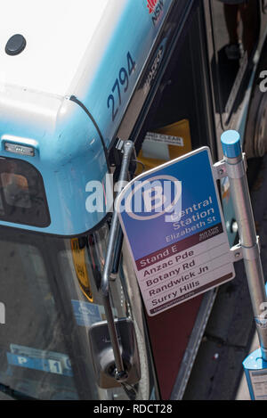 A view from above of a Sydney Bus and bus stop at Elizabeth Street, Central Station - Stock Image