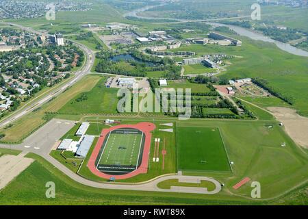aerial, University of Lethbridge, Lethbridge, Alberta - Stock Image