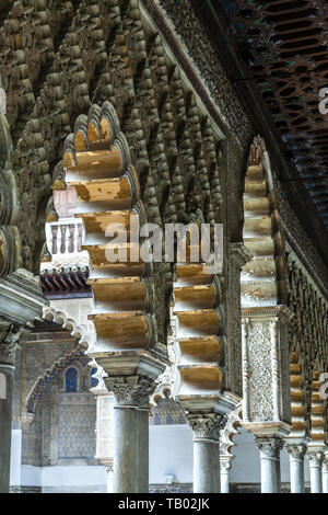 Arches, Reales Alcazares, Seville, Spain - Stock Image