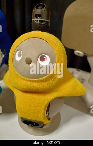 Cute, adorable and fuzzy Lovot robot (love-robot) from Japanese startup Groove X on display at CES Unveiled, Consumer Electronics Show, Las Vegas, USA - Stock Image