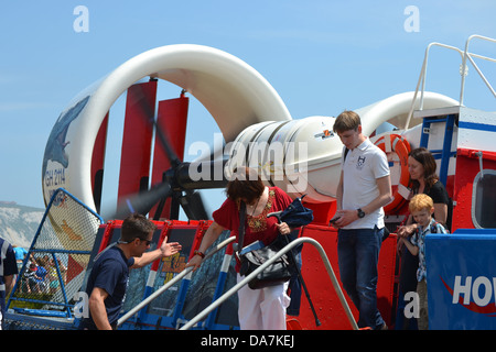 Disembarking from the Hovercraft on the Isle of Wight - Stock Image