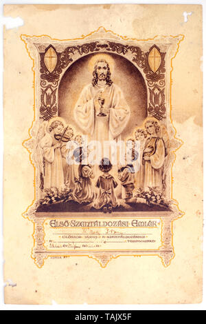 commemorative card given to children by the catholic church for their first communion 1970s hungary - Stock Image