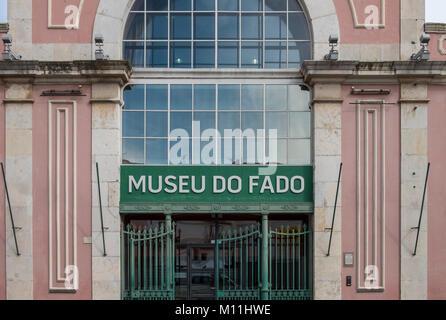 Entrance to the Museu do Fado building, Largo Chafariz de Dentro 1, 1100-139 Lisboa, Portugal - Stock Image