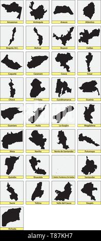 Thirtythree black maps of the Departments of Colombia - Stock Image