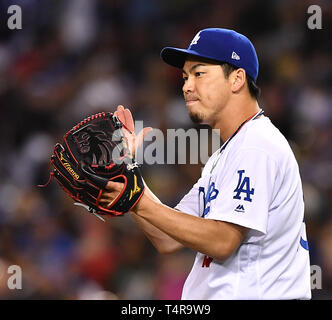 Kenta Maeda of the Los Angeles Dodgers in action during the Major League Baseball game against the Cincinnati Reds at Dodger Stadium in Los Angeles, United States, April 16, 2019. Credit: AFLO/Alamy Live News - Stock Image