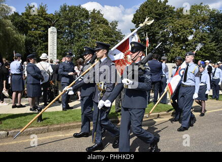 Northolt, London, UK. 1st September, 2018. The replica of the wartime Standard of the Polish Air Force / Replika wojennego Standardu Polskich Sił Powietrznych.  The Annual Commemoration of Fallen Polish Airmen will take place on Saturday, 1st September 2018 at the Polish Air Force Memorial, Northolt. Credit: Marcin Libera/Alamy Live News - Stock Image