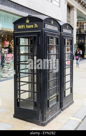 London Phone Boxes that double as Wifi Hotspots. - Stock Image