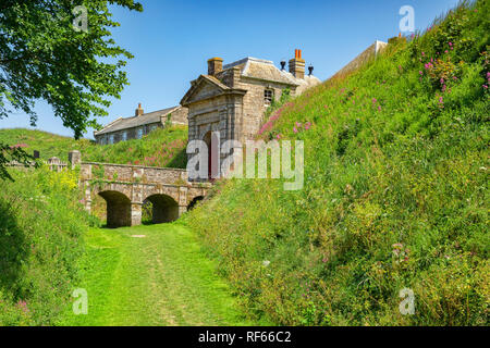 The Gatehouse and Moat, Pendennis Castle, Cornwall, UK - Stock Image