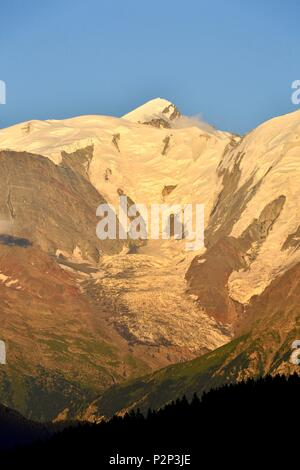 France, Haute Savoie, Chamonix Mont Blanc, Mont Blanc (4810m) - Stock Image