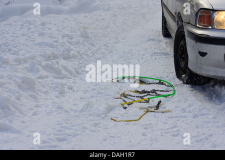 Car stuck in a snow drift - Stock Image