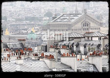 Paris rooftops looking out from Montmartre - Stock Image