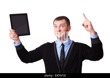A man with a clipboard in his hand and raised his finger up, isolated on white - Stock Image