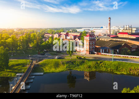 A 19th century paper mill on a river within the city of Dobrush, Belarus. Top view - Stock Image