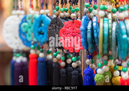 Chinese decorations at Cat Street anitques market, Sheung Wan, Hong Kong Island, Hong Kong, China - Stock Image