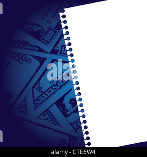 notebook paper with background of money - Stock Image