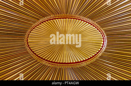Decorated golden wooden ceiling with design based on the old flag of the ottoman empire - Stock Image