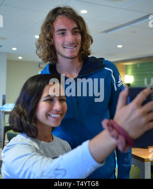 attends UNICEF Kid Power during Miami Open 2019 day 2 at Hard Rock Stadium on March 19, 2019 in Miami Gardens, Florida.  Featuring: Stefan Tsitsipas Where: Miami Gardens, Florida, United States When: 19 Mar 2019 Credit: Johnny Louis/WENN.com - Stock Image