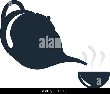 SPA Tea Pot With Cup Icon. Flat Color Design. Vector Illustration. - Stock Image
