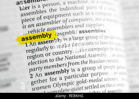 Highlighted English word 'assembly' and its definition at the dictionary. - Stock Image