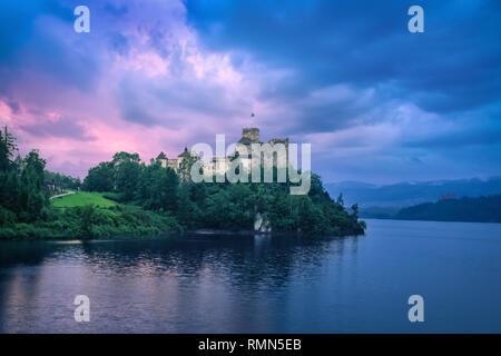 HDR image of Niedzica Castle at sunset in Niedzica, Lesser Poland - Stock Image