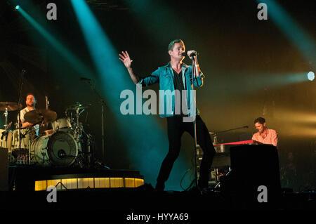2 August 2013 - Santander, Spain - British pop rock band Keane performs at the Santander Music 2013 festival.  In - Stock Image