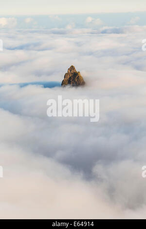 Mountain peak above the clouds, Santo Antao, Cape Verde - Stock Image