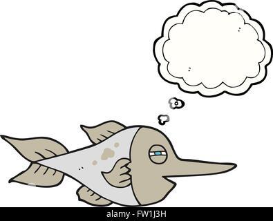 freehand drawn thought bubble cartoon swordfish - Stock Image