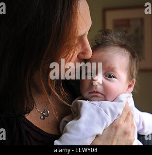 Guilford CT USA- Guilford First Selectwoman, Cindy Cartier and her husband, adopted 10-week-old Samantha (Cartier), - Stock Image