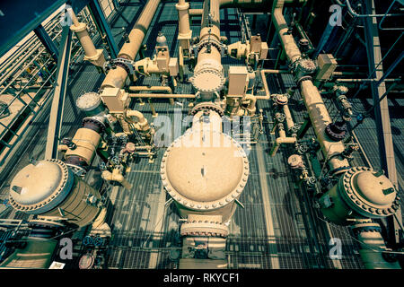 Overhead view of pipes and valves of a geothermal power plant in Calipatria in California. - Stock Image