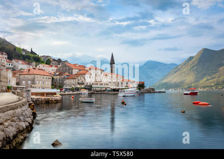 View of Perast town in the morning, Montenegro - Stock Image